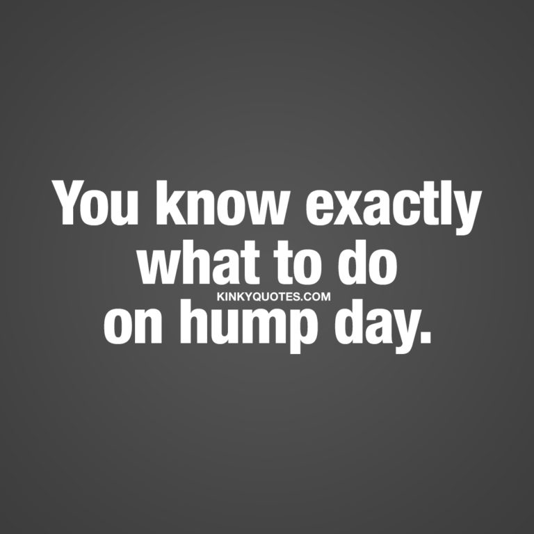 You know exactly what to do on hump day.