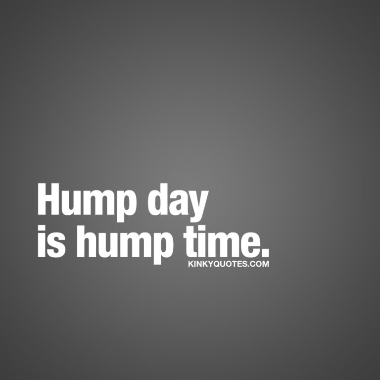 Hump day is hump time.